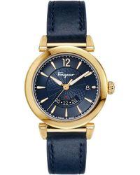 Ferragamo Feroni Leather Strap Watch - Metallic
