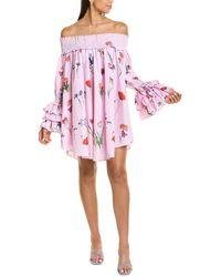 Gracia Floral Stripe Shift Dress - Pink