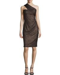 David Meister - Metallic One-shoulder Sheath Dress - Lyst
