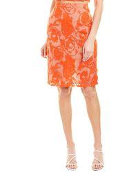 Krisa Embroidered Pencil Skirt - Orange