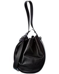 The Row Xl Drawstring Hobo Leather Bucket Bag - Black