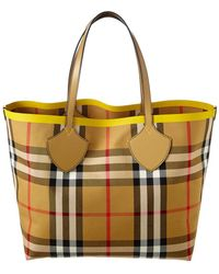 Burberry Large Giant Block Check Tote - Yellow