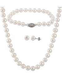 Splendid - Silver 6.5-7mm Freshwater Pearl Bracelet, Earrings, & Necklace Set - Lyst
