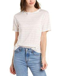 Vince Multi Stripe Linen T-shirt - White