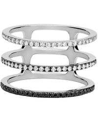 EF Collection 14k 0.40 Ct. Tw. Diamond Fade To Black Triple Spiral Ring - Metallic
