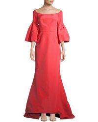 Carolina Herrera Off-the-shoulder Silk Gown - Red