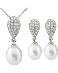 Splendid - Rhodium Plated Silver 7.5-8mm Freshwater Pearl & Cz Drop Earrings & Necklace Set - Lyst