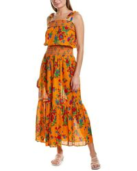 Tory Burch Floral-print Tiered Coverup Maxi Dress - Orange