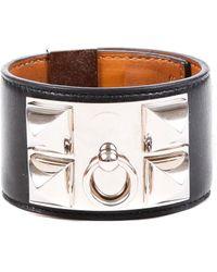 Hermès Palladium Plated Collier De Chien Small Black Leather Bracelet - Multicolour