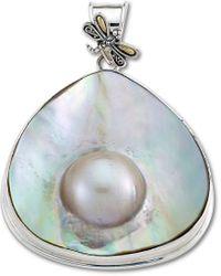 Samuel B. 18k & Silver Pearl Dragonfly Pendant - Metallic