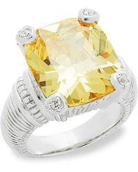 Judith Ripka | Canary Crystal & Sapphire Ring | Lyst