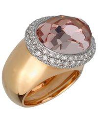 Pomellato 18k 21.21 Grams Rose Gold 14.51 Ct. Tw. Diamond & Morganite Cocktail Ring - Metallic
