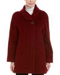 Cinzia Rocca Funnel Wool & Cashmere-blend Coat - Red