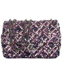 Chanel Pink & Purple Sequin Cc Classic Flap Bag - Multicolour