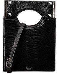 Salar Arya Snake-embossed Leather Shoulder Bag - Black