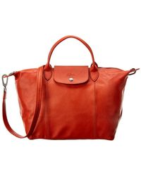 Longchamp Le Pliage Cuir Medium Leather Short Handle Tote - Red