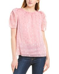 1.STATE Foil Puff Sleeve Top - Pink