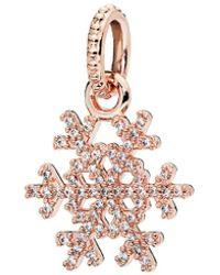PANDORA Rose Cz Sparkling Snowflake Pendant - Pink