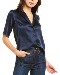 Amanda Uprichard Yvonne Silk Top - Blue