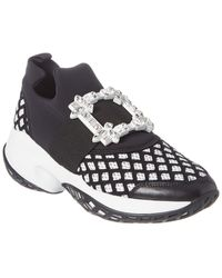Roger Vivier Viv' Run Strass Buckle Leather Trainer - Black