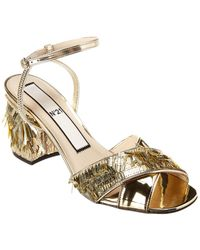 N°21 Sequin-fringed Leather Sandal - Metallic