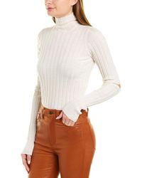 Helmut Lang Rib-knit Turtleneck Wool Top - White