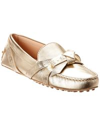 Tod's Gommino Bow Metallic Leather Moccasin
