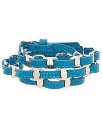 Ferragamo Triple Wrap Leather Bracelet - Blue