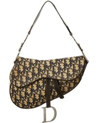 Dior Navy Trotter Canvas Saddle Bag - Multicolour