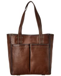 Frye Mindy Pocket Leather Tote - Brown