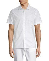 Perry Ellis - Slub Space Dyed Cotton Button-down Shirt - Lyst