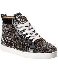 Louis Orlato Studded Patent Sneaker Black