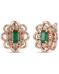 Le Vian ? 14k Rose Gold 1.03 Ct. Tw. Diamond & Emerald Earrings - Metallic