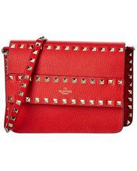 Valentino Rockstud Small Leather Shoulder Bag - Red