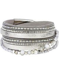 Saachi - Beaded Crystal Leather Wrap Bracelet - Lyst