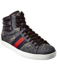 Gucci Ace Tiger Print High-top Trainers - Black