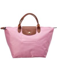 Longchamp Le Pliage Medium Nylon Short Handle Tote - Pink