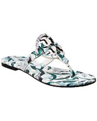 Tory Burch Miller Printed Leather Sandal - White
