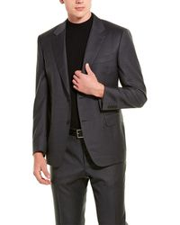 Canali 2pc Wool Suit With Flat Pant - Grey