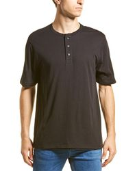 Vince Double Layer Henley - Black