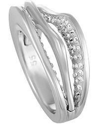 Swarovski Crystal Rhodium Plated Ring - Metallic