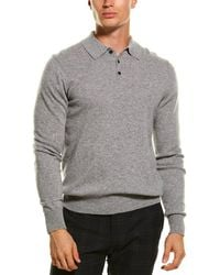 Qi Cashmere Polo Sweater - Grey