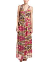 Nanette Lepore Front Zip Silk Maxi Dress - Pink