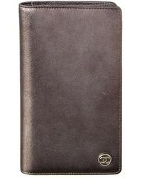 Chanel - Silver Metallic Leather Long Wallet - Lyst