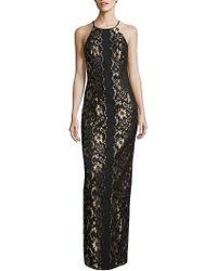 Belle By Badgley Mischka Wenda Lace Column Gown - Black