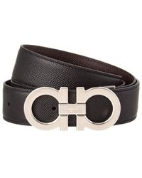 Ferragamo Double Gancio Buckle Reversible Leather Belt - Black