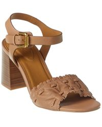 See By Chloé Gathered Detail Leather Sandal - Brown