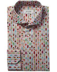 Eton of Sweden Slim Fit Ice Cream Print Dress Shirt - Pink