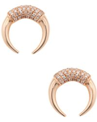 Vendoro - 14k Rose Gold & 0.13 Total Ct. Diamond Crescent Stud Earrings - Lyst