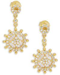 Freida Rothman - Rose Quartz & Gold Slice Wheel Drop Earrings - Lyst